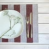 4-er Pack Leinen Platzsets - Tischsets Stoff 100% Leinen - 50x35 cm - Farbe Natur Rot/Varvara Home 1677