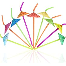 Tomnk 120 Regenschirmförmige Strohhalm wegwerfbare flexible Trinkhalme Plastikstrohhalm