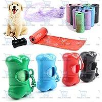 The DDS Store et Dog Poop Clean Waste Bag Dispenser Box Bone Shape Garbage Carrier Holder+ 3 Bag Rolls (Color May Vary)
