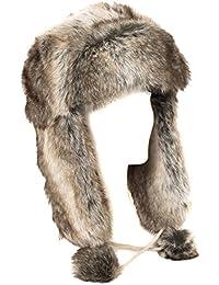 Sombrero de trampero de estilo ruso marrón de piel de imitación (marrón, talla única)