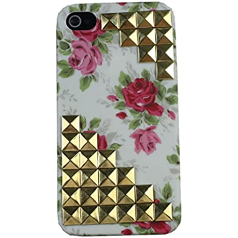 niceeshop(TM) Blanca/oro Moda Funda Carcasa Case Cubierta de Patrón Flor Rosa y Remache de Trapecio para iPhone 4 4S con una protector de