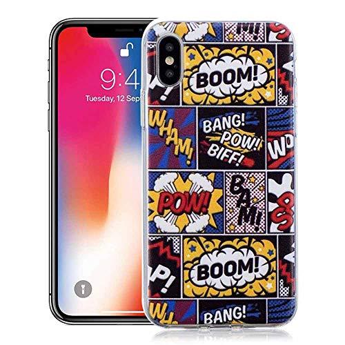 YuhooTech iPhone X/XS Silicone Cover Ultra Sottile Morbido TPU Protettiva  Flessibile Opaco Custodia Antiscivolo Satinato Protezione Cassa-Boom Bang