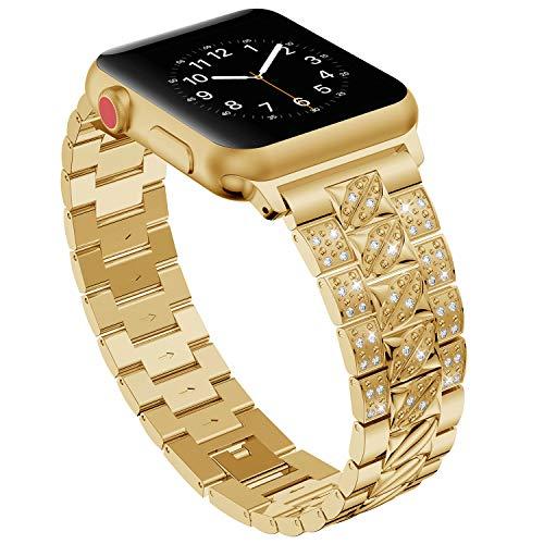 Nike Sport-uhren Frauen (Bands für Apple Watch 38mm 40mm,Gold Damen Edelstahl Sport Uhr Armband für iWatch Series 4 40mm,Metall Bling Armbänder für Series 3 2 1 38mm Edition Nike+)