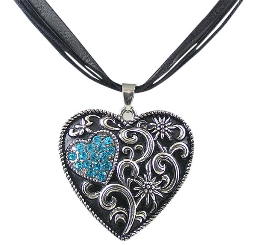 Trachtenschmuck Dirndl Kette Kristall Herz – geschwärzt – Edelweiss – Blue Zircon...