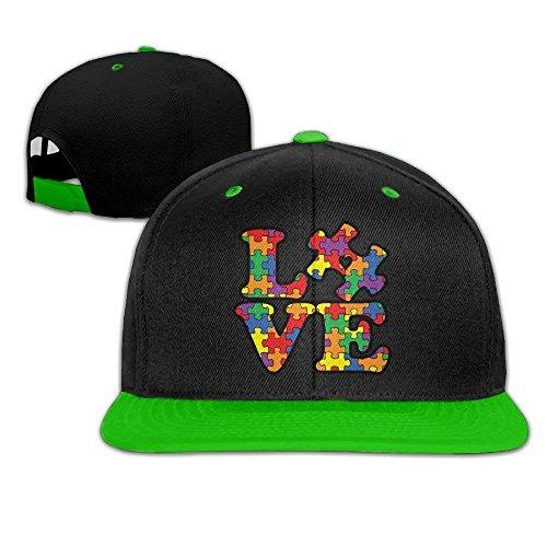 ERCGY Personality Caps Hats Autism Awareness Puzzle Piece Hip Hop Baseball Cap Snapback Hats Solid Flat Bill Dad Hat Unisex (5colors,Adjustable)