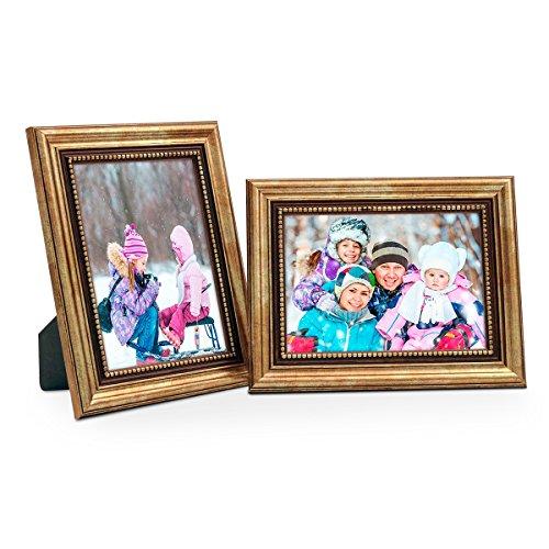 PHOTOLINI 2er Set Bilderrahmen 13x18 cm Gold Barock Antik Massivholz mit Glasscheibe und...