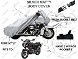 #4: Volga Silver Bike Body Cover With Mirror Pocket For Hero Karizma R