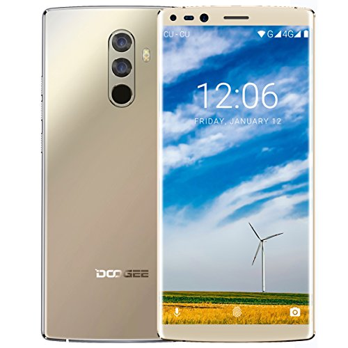 Smartphone Ohne Vertrag, DOOGEE MIX 2 5,99 Zoll 18:9 FHD+ Display, 4G Dual SIM Smartphone Android 7.1, 6GB RAM 64GB ROM, Helio P25 Octa Core Prozessor, Dual 16 + 13 MP Hauptkamera, 4060mAh - Gold