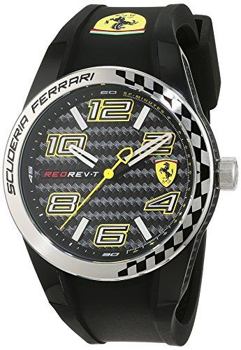 Scuderia Ferrari Mens Quartz Watch, Analogue Classic Display and Silicone Strap 0830337