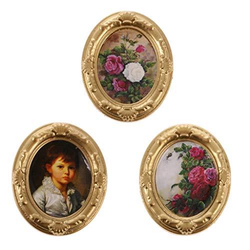 CUTICATE 3 Stücke Metall Mini Bild In Fotorahmen Für Puppenhaus Miniatur Wandbild Ornament -