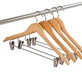 JUNGEN 10 Stück Hosen Kleiderbügel Holz Jackenbügel Trocknen Kleiderständer mit Klammer, 45 * 22.5 * 1.2 cm