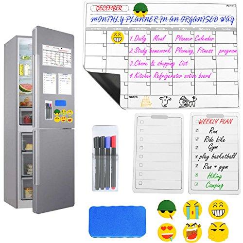 Set mit magnetischen, trocken abwischbaren Kalendern für den Kühlschrank von Abimars - Wochenkalender, Monatskalender, groß 6 Emoji-Magnete + Magnetischer Stifhalter + 4 Marker + Magnet-Löscher
