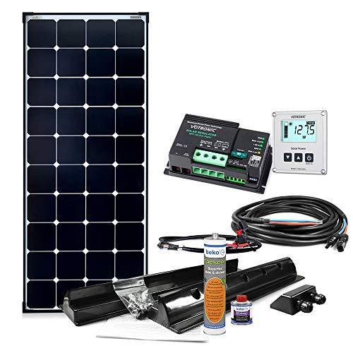 Offgridtec© 150W MPPT 12V Wohnmobil Komplettset EBL-Option mit Hochleistungspanel MPPT Regler und Installationsmaterial