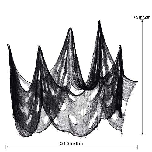 Schwarz Gruselige Tuch, Gruselige Halloween-Dekorationen, Halloween Spukhaus Party Dekoration Türöffnungen im Freien liefert, 315 '' X 79 '' - 2