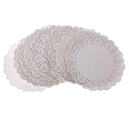 Spitze Papier-Teppiche, Geblümt Deckchen für Tea Party, Hochzeiten und Geburtstag, Tischdekoration, weiß, B ()