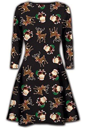 Neue Womens Kurzes Kleid Weihnachts Bäume Weihnachten Weihnachtsmann Schneemann Rentier Rudolph Geschenk Glocken Geschenk Damen Schaukel-oben Weihnachtsmann und Rentier Schwarz