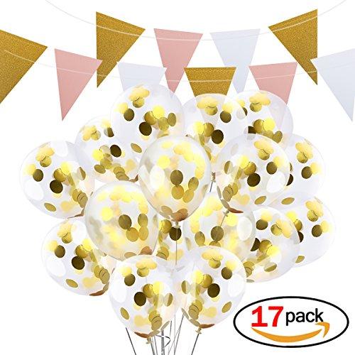 d Konfetti Luftballons 12 inch – Bonus handgefertigt Banner für Hochzeit Geburtstag Party Festival Dekorationen (Sweet 16 Dekorationen Billig)