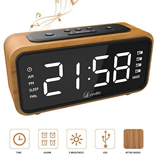 """[Neue Version] Radiowecker Funkuhr Digital,Lorretta Radiowecker Digital Mit Holz-Korn Retro,FM Uhren-Radio Mit Nachtlicht-Funktion,Digitales LED Wecker mit 6.5 """"/ 165mm LED-Display / 4 Alarmfunktionen mit Snooze / Dimmer/Anpassbare"""