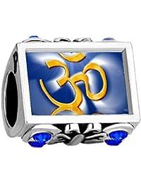 Uniqueen - Abalorio con símbolo de yoga que se ajusta a pulseras europeas