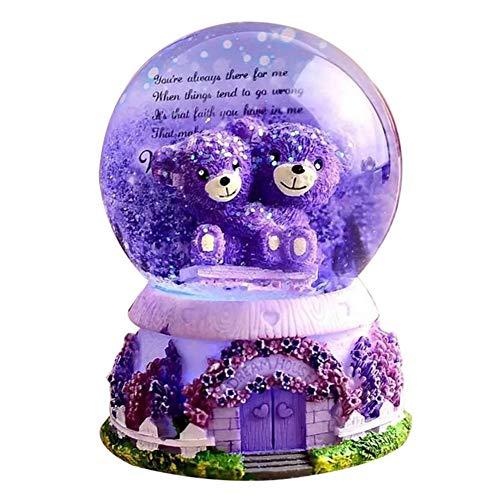 Lavendel lila Bär Crystal Ball Spieluhr leuchtet Schneeflocken Geburtstag Freundin Geschenk