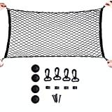 MAXTUF Cargo Net, 60 x 120CM Adjustable Elastic Trunk Cargo Organizer Nylon Mesh Rear Car Net for SUV, Truck Bed, Pickup, with Utility Free Bonus Hooks to Fix on without Rummaging