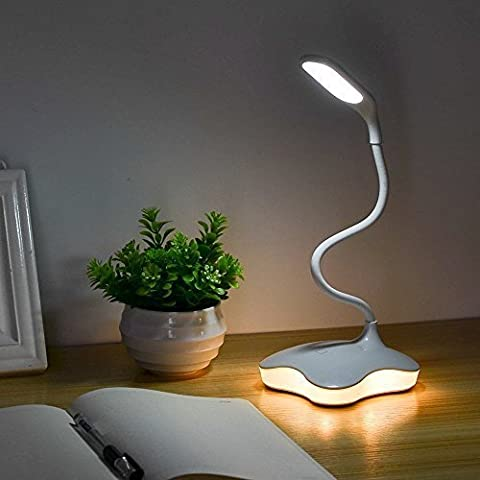 XIAOKOA Eye Protection LED Table Lamp with Night Light and 3 levels brightness, Touch Sensitive Control, Twistable