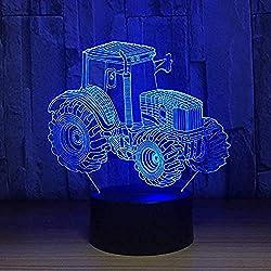 3d illusion nachtlicht 7 farbe led vision traktor automobil form usb ladeschalter kinder jahr spielzeug bunte kreative geschenk fernbedienung