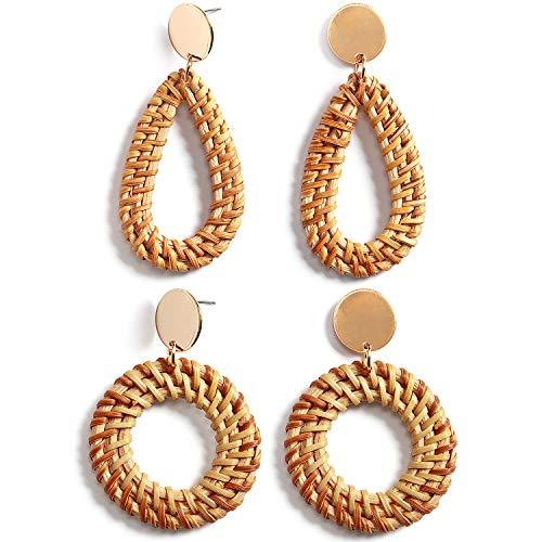 ttan-Ohrringe Set für Frauen, handgefertigt, Strohgeflecht, baumelnd, Bohemian, leicht, geometrische Statement-Ohrringe ()
