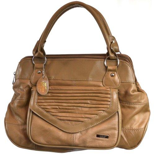 Dameneinkaufstasche, -handtasche Leder mit praktischem Magnetverschluß (Dunkelbraun / Dunkelbeige / Schwarz / Hellbraun) Dunkelbeige