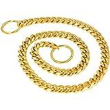 mihqy Gold Hund Choke Halsband, Heavy Duty rutschfeste Kette Halsband–Best für kleine mittel große Hunde Control Training zu Fuß–1cm breit Edelstahl Pet Halsband