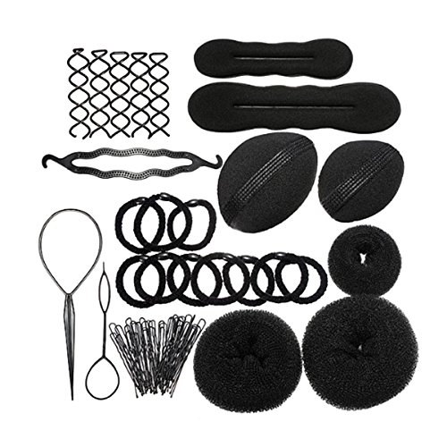 WINOMO Haarknoten Hersteller Roller Zopf Twist Gummibänder Stifte Haar Design Werkzeuge Set - Pick Roller Pad