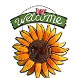 Yuema Dekoratives Schild Vintage Stil mit Sonnenblumen, tolle und einzigartige dekorative Akzent für jeden Raum 30cm x 30cm x 38.5cm