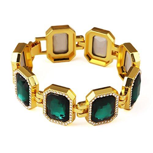 nyuk da uomo Block Hip Hop Strass Bling Braccialetto Gioielli, Lega, colore: Green, cod. W-1888 - Emerald Jade Bracciale