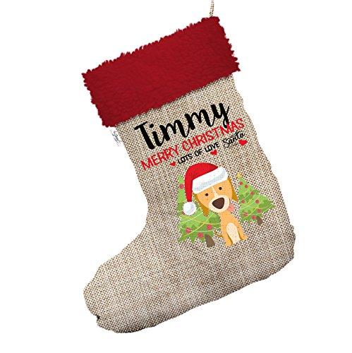 Weihnachten Hund mit Bäume personalisierbar Jumbo Sackleinen Santa Claus Weihnachten Strümpfe mit rotem Rand (Strumpf Weihnachten Hund)