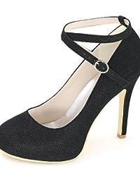 ZQ Zapatos de mujer-Tac¨®n Robusto-Tacones / Tira en T / Punta Redonda-Tacones-Vestido / Casual / Fiesta y Noche-PU-Negro / Rosa / Blanco / , white-us5 / eu35 / uk3 / cn34 , white-us5 / eu35 / uk3 / cn34