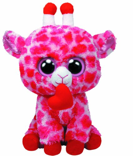 Beanie Boo Valentine's Giraffe - Jungle Love - Pink Heart - 24cm 9""