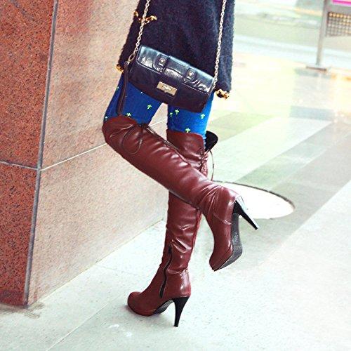 ZQ@QXregalo di Natale L'Europa e la marea alta scarpe col tacco tirante posteriore dimensioni stivali ginocchio brown