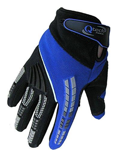 Qtech - Gants protecteurs - moto-cross/tout-terrain/BMX/Enduro - adulte - Bleu - M (env. 9 cm)