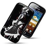 Etui de créateur pour Samsung Galaxy Ace 2 i8160 - Etui / Coque / Housse de protection noir en TPU/gel/silicone avec motif guitare électrique