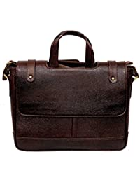 "AYS Stylish 14"" Genuine Pure Leather Laptop Sleeve Messenger Office Bag"