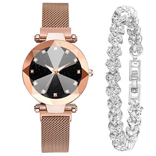 Laile Damen Uhren Dial Quarzuhr Geschenkset Elegantes schöne Quarz-Armbanduhr Design Runde Zifferblat Uhrenarmband Mode Sliver Armband Multi-Edge