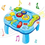 Wishtime Mesa de Aprendizaje Musical Juguetes para bebés 2 en 1 Juguetes de educación temprana Mesa de Centro de Actividades Musicales para bebés bebés Niños pequeños Niños 6 Meses hasta