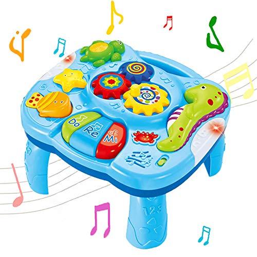 WISHTIME Mesa de Aprendizaje Musical Juguetes para bebés 2 en 1 Juguetes de educación temprana Mesa...