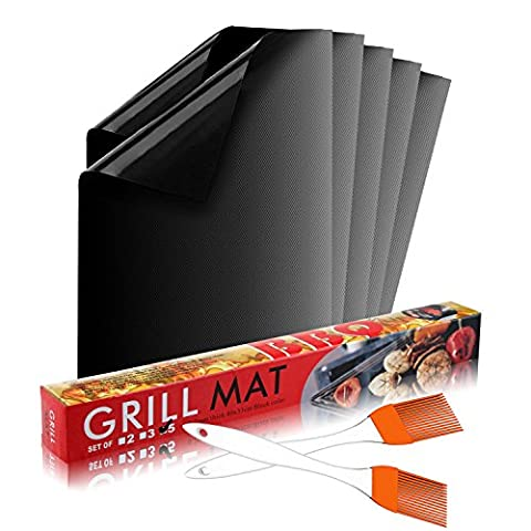 Calish Grill Mat Set of 5, Non Stick BBQ Mat, Reusable and Easy to Clean Barbecue Mat, Perfect for Baking on Gas, Charcoal, Oven and Electric Grills with Silicone Basting Oil Brush Set of
