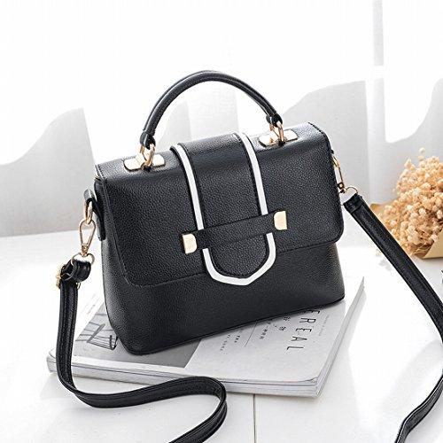 Fashion Simple kleinen Platz Bag Damen Schultertasche Messenger Bag schwarz