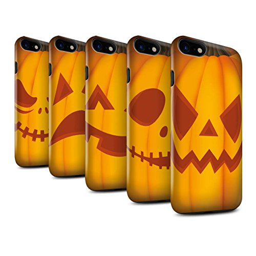 STUFF4 Glanz Harten Stoßfest Hülle / Case für Apple iPhone 8 / Glücklich Muster / Halloween Kürbis Kollektion Pack 5pcs