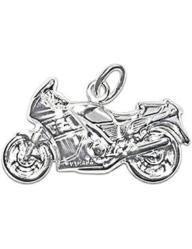 CLEVER SCHMUCK Silberner Anhänger Motorrad 23 x 13 mm beidseitig plastisch glänzend STERLING SILBER 925