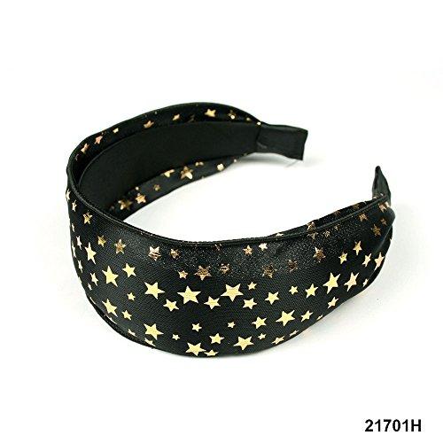 Breiter Haarreif Haarband in schwarz mit goldenen Sternen in verschiedenen Größen 020-00070