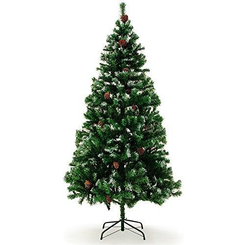 Sapin de Noël 180 cm Arbre artificiel avec pommes de pins Neige artificielle Décoration...