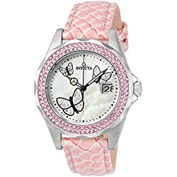 INVICTA Angel Women's Quartz Watch with Pink Dial Analogue Display and Pink Leather Strap - 23548